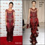 Katie Holmes In Marchesa  – GoRed For Women Red Dress Collection NYFW 2017