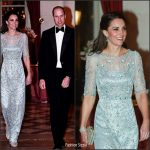 Catherine, Duchess of Cambridge In Jenny Packham- Dinner At the Ambassador's Residence In Paris
