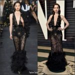 Lily Collins  In Elie Saab  –  2017 Vanity Fair Oscar Party