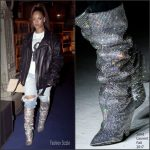 Rihanna In Saint Laurent  Fall 2017 Glitter Boots – Out In Paris