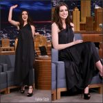 Anne Hathaway In Vintage Halston At The Tonight Show Starring Jimmy Fallon