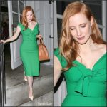 Jessica Chastain In Oscar de la Renta At The Late Late Show with James Corden