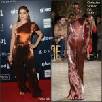 Debra Messing In Christian Siriano  At  28th Annual GLAAD Media Awards