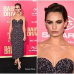 Lily James In Ulyana Sergeenko Demi-Couture  At  'Baby Driver' LA Premiere