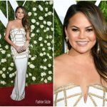 Chrissy Teigen In Pamella Roland At 2017 Tony Awards