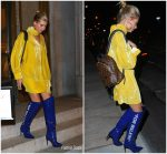 Hailey Baldwin  In A.F.Vandevorst   Dress & Off-White  Boots – New York City