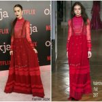 Lily Collins  In Valentino  – Okja New York  Premiere