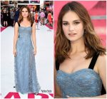 Lily James In Burberry  At  'Baby Driver' London Premiere