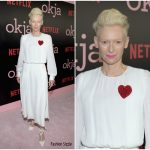 Tilda Swinton In Schiaparelli Couture At  'Okja' New York Premiere