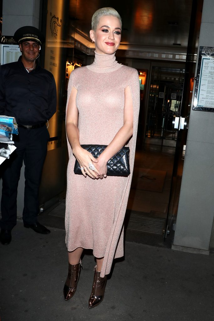 Katy Perry In Elisabetta Franchi At Caviar Kaspia Restaurant Fashion Sizzle
