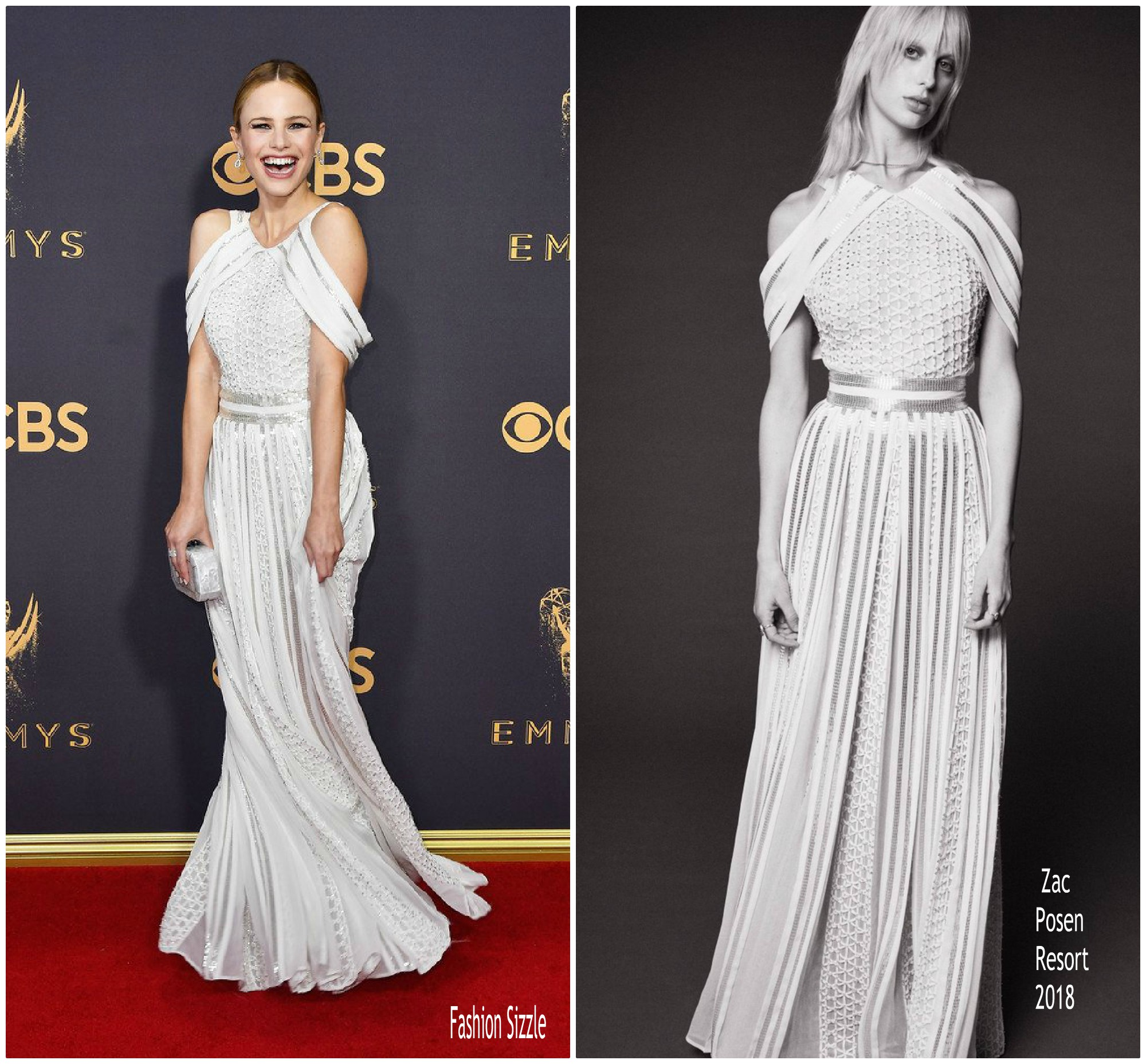 Halston Sage In Zac Posen 2017 Emmy Awards Fashionsizzle