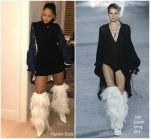 Rihanna In  Saint Laurent's Spring 2018 Feather Boots