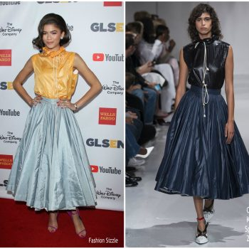 Zendaya Coleman joined Kerry Washington at the 2017 GLSEN Respect Awards on Friday (October 20) in Beverly Hills, California.  The starlet has a way of wearing retro, ladylike style with a youthfully modern edge—and it charms me every time, as there's no feeling of try-hard or contrived sensibility.  I love the sporty spirit of this Calvin Klein Spring 2018 windbreaker top combined with the old Hollywood glamour of the full skirt.  And, she put her touch on it perfectly with her fresh look at the styling that included the zesty colour palette along with her newly short bob and contrasting magenta sandals.