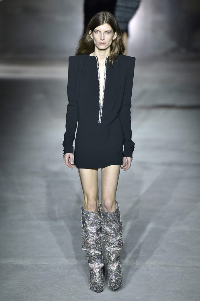 Celebrities In Ysl Fall 2017 Gillter Crystal Boots
