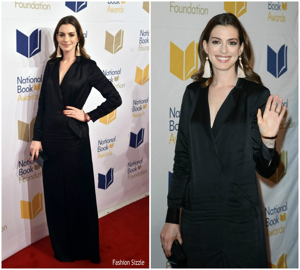 Anne Hathaway College: Anne Hathaway In Halston Heritage At 68th National Book