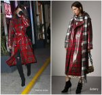 Bella Hadid In Plaid  Burberry  Coat  Out In New York