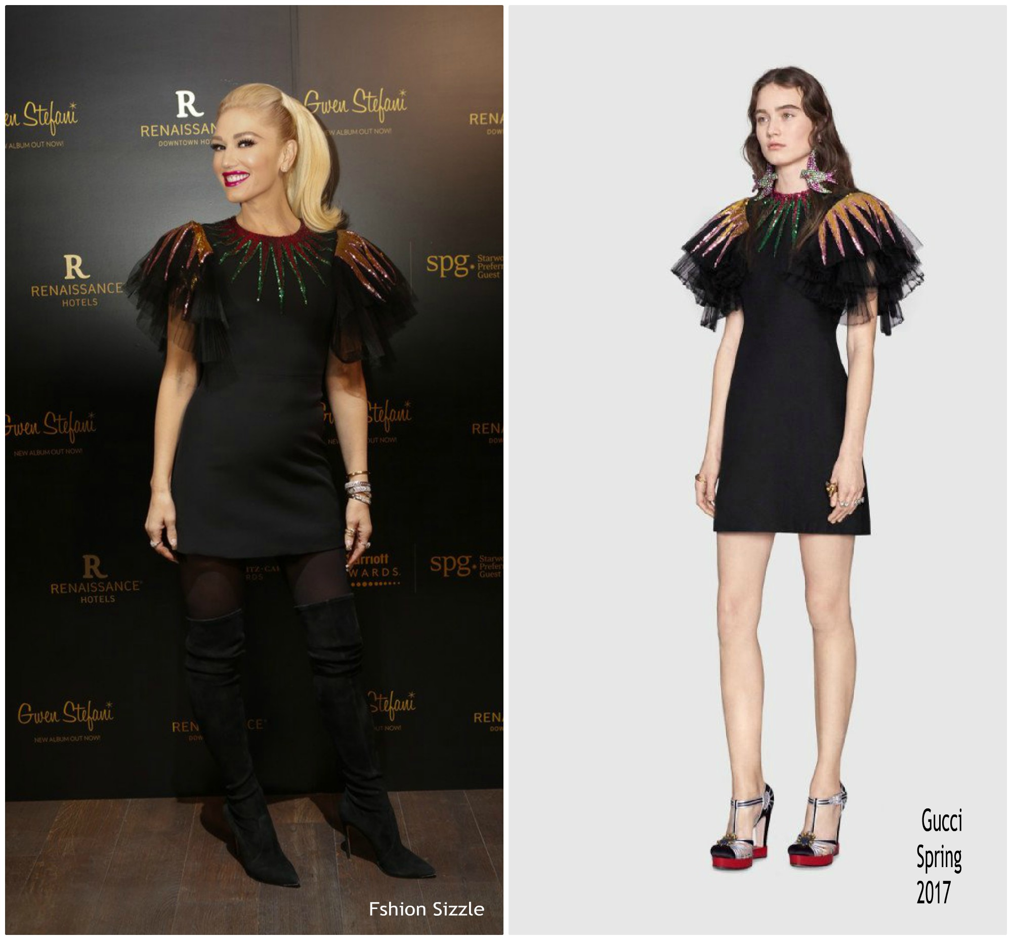 Gwen stefani in gucci renaissance downtown hotel opening for Gucci hotel dubai