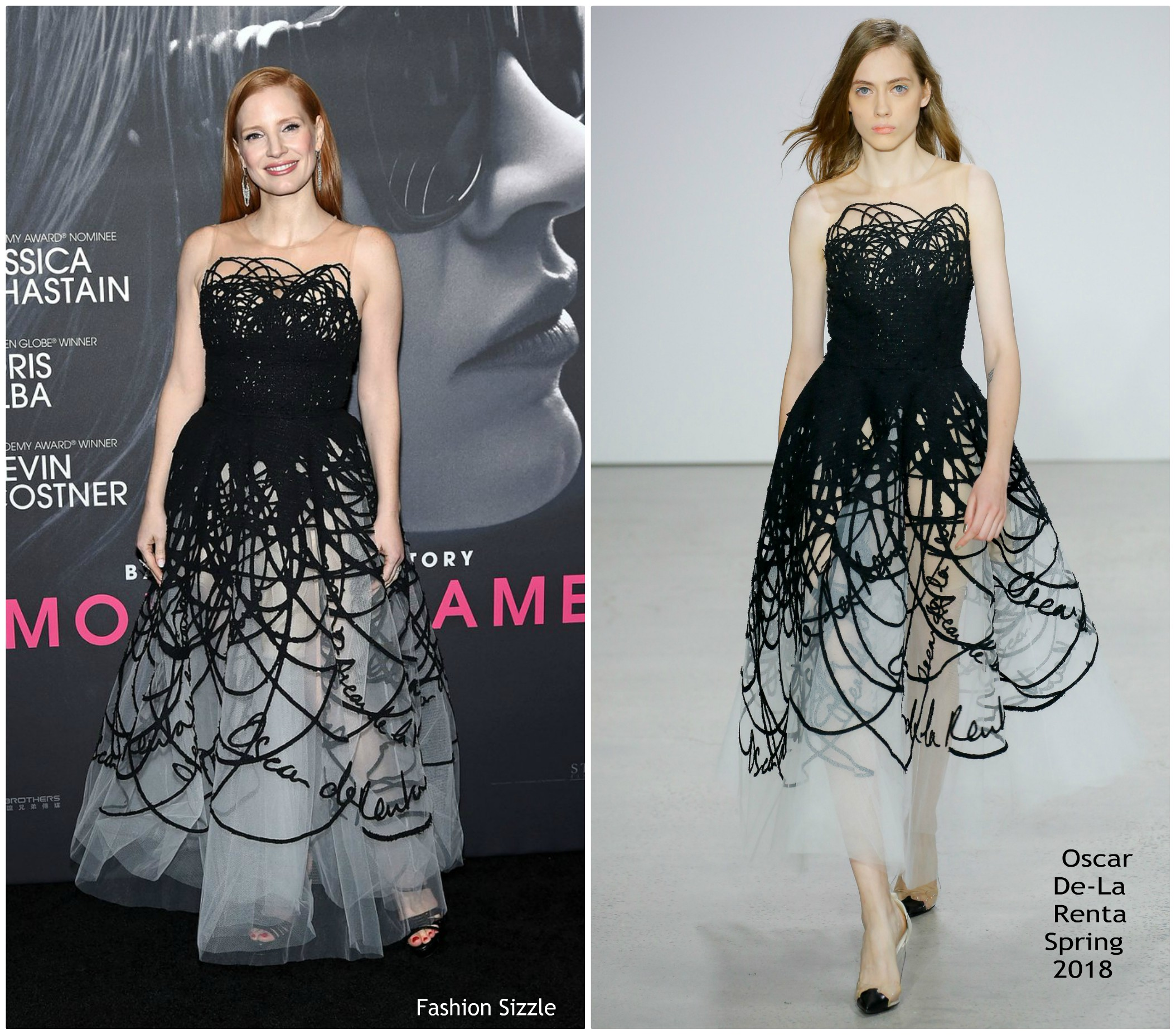 Jessica Chastain In Oscar De La Renta Mollys Game New York
