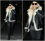 Rita Ora In  Acne  Moto Jacket –  Leaving Her Hotel in New York