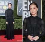 Alicia Vikander In Louis Vuitton – 2018 Golden Globe Awards