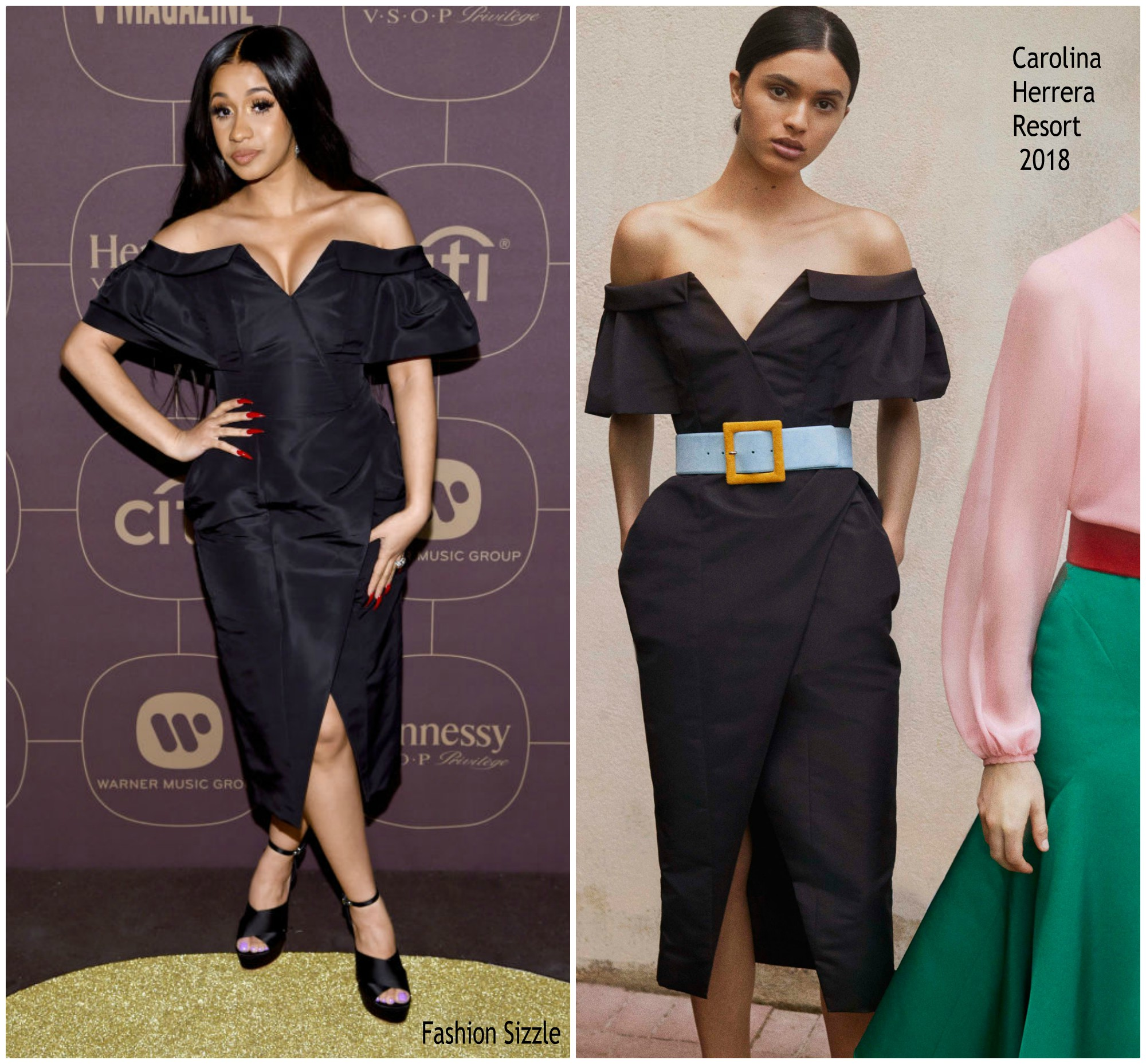 cardi-b-in-carolina-herrera-warner-music-group-hosts-pre-grammy-celebration