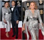 Chrissy Teigen  In Yanina Couture  @ 2018 Grammy Awards