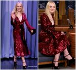 Dakota Fanning In Prabal Gurung  @ Tonight Show Starring Jimmy Fallon