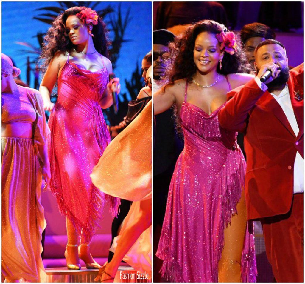 Rihanna In Adam Selman @ 2018 Grammy Awards Performance
