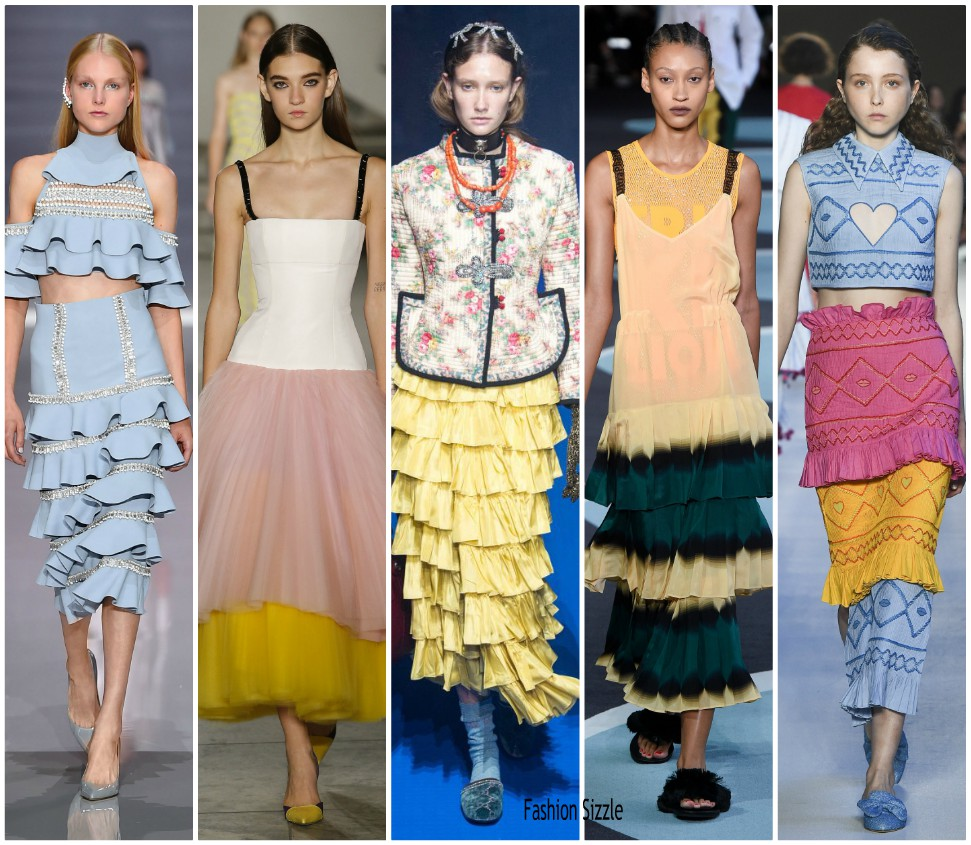 Spring 2018 Runway Fashion Trend Tiered Skirts