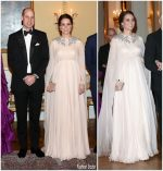 Duchess Of Cambridge  In Alexander McQueen  @ Dinner at Royal Palace in Oslo