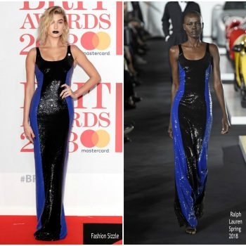 hailey-baldwin-in-ralph-lauren-brit-awards-2018