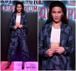 Bella Hadid In Dior  Patchwork Suit   @ Dior Addict Lacquer Pump Launch Party in LA