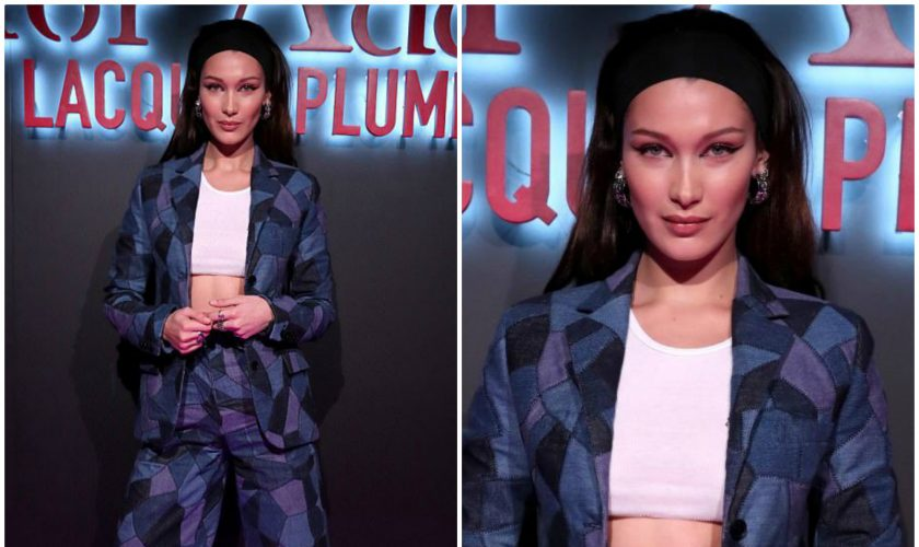 bella-hadid-in-patchwork-suit-dior-addict-lacquer-pump-launch-party-in-la