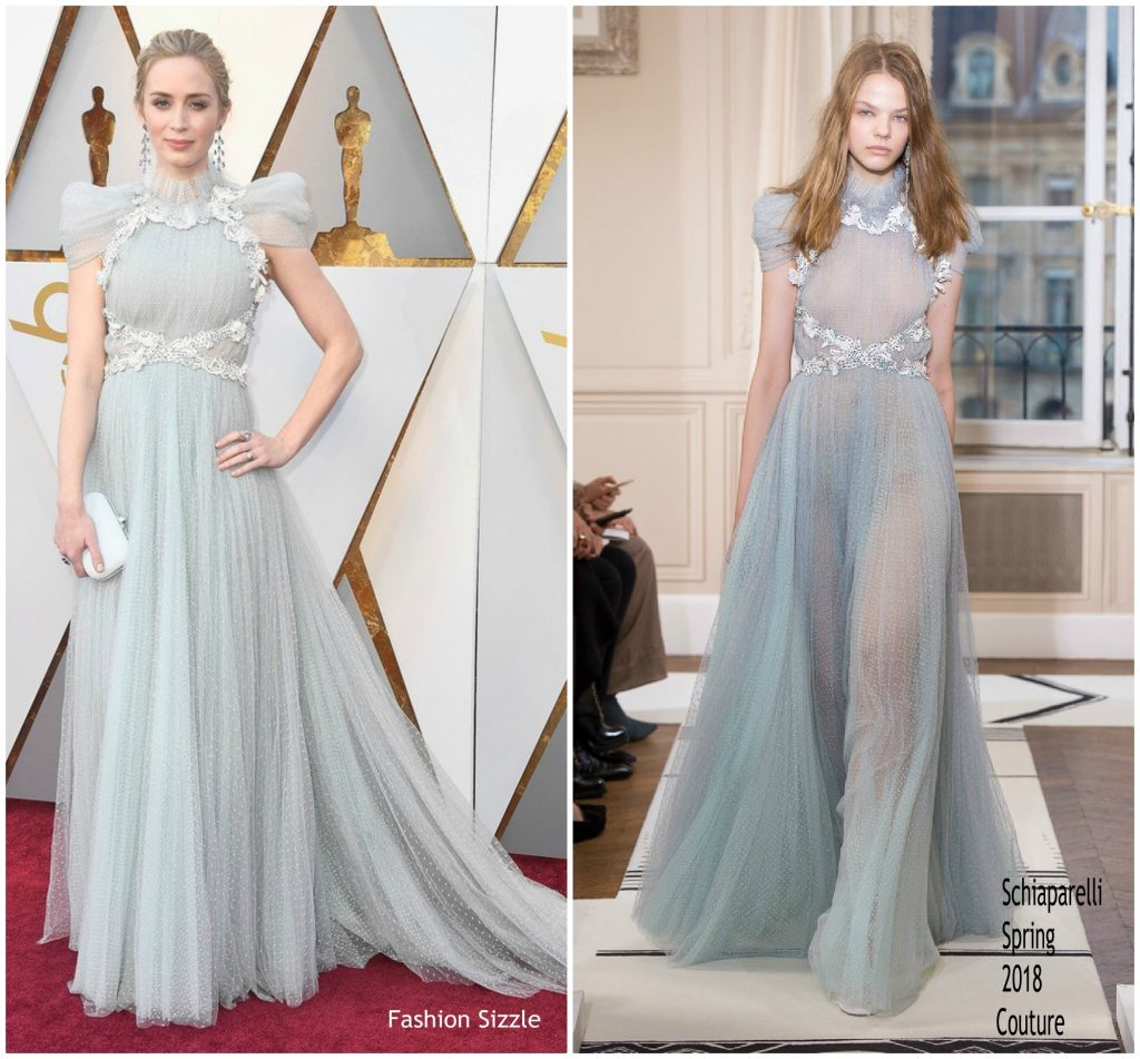Emily Blunt In Schiaparelli Couture @ Oscars 2018 - Fashionsizzle