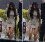 Kim Kardashian In Yeezy  @ Leaving   Bel Air Hotel In LA