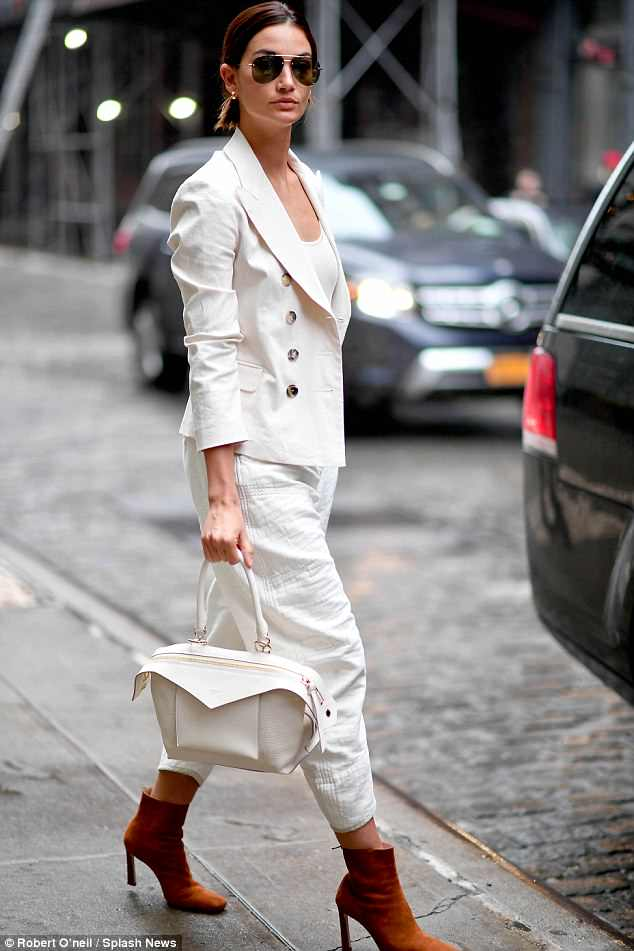 Lily Altridge wearing designer Isabel Marant suit in New York