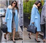 Amal Clooney  In  Powder Blue Coat   Out In New York