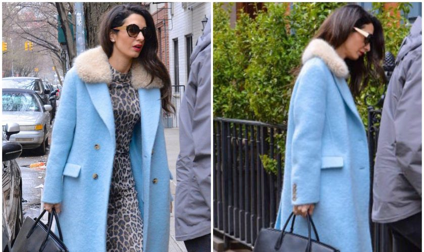 amal-clooney-in-powder-blue-coat-out-in-new-york