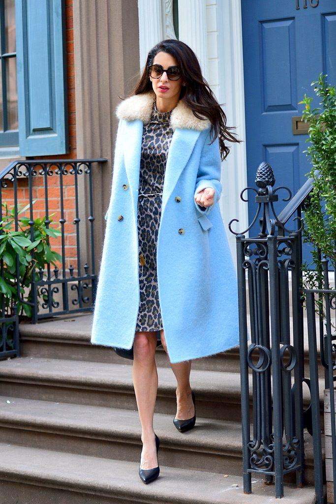 Amal Clooney In Powder Blue Coat Out In New York ...