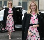 Emily Blunt In Tanya Taylor   @ BBC Radio 2 Studios  In London