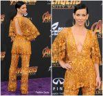 Evangeline Lilly In Zuhair Murad Couture  @  'Avengers: Infinity War' LA Premiere