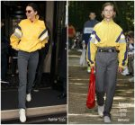 Kendall Jenner In Balenciaga Windbreaker Jacket In Paris
