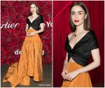 Lily Collins  In Reem Acra @  Cartier's 2018 Junior Committee of Fine Arts Museums of San Francisco Mid-winter