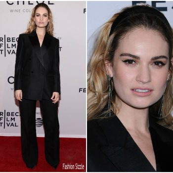 lily-james-in-burberry-tailoring-little-woods-tribeca-film-festival-premiere
