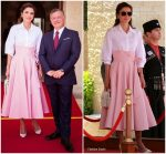 Queen Rania of Jordan In Sara Battaglia  @ Austrian President Visit