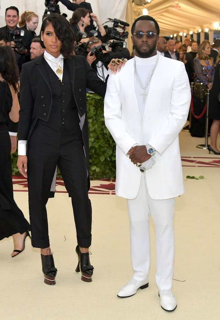 diddy in musika frere amp cassie in thom browne 2018 met