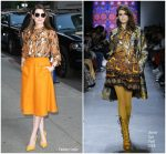 Anne Hathaway In Anna Sui  @ The Late Show With Stephen Colbert