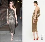 Anne Hathaway In Martin Grant   @ The Late Show With Stephen Colbert