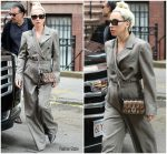Lady Gaga Arrives at Electric Lady Studios Wearing Mola Walker  Suit In New York