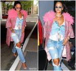 Rihanna  In Marc Jacobs Coat  Out In New York